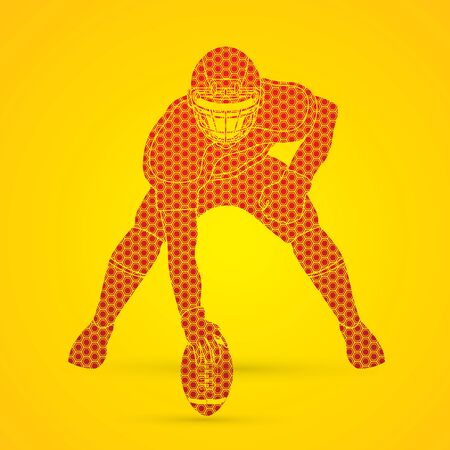 masculinity: American football player posing designed using hexagon pattern graphic vector