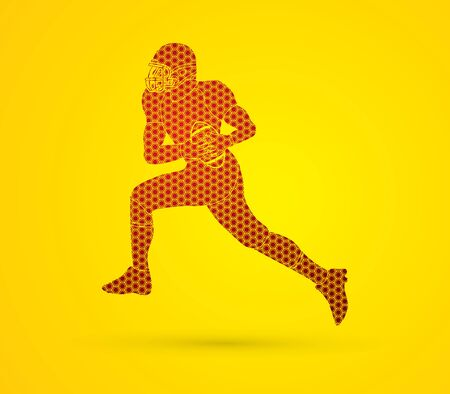 masculinity: American football running designed using hexagons pattern graphic vector