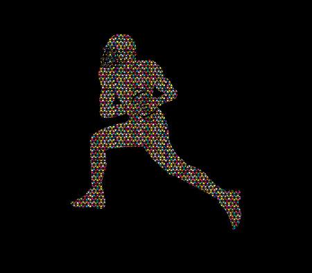 American football running designed using mosaic pattern graphic vector