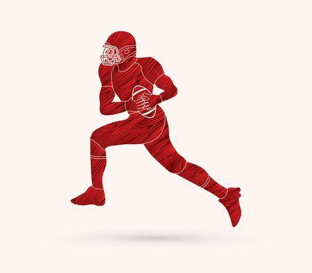 American football running designed using red grunge brush graphic vector