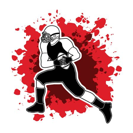 masculinity: American football running designed on splash blood  background graphic vector
