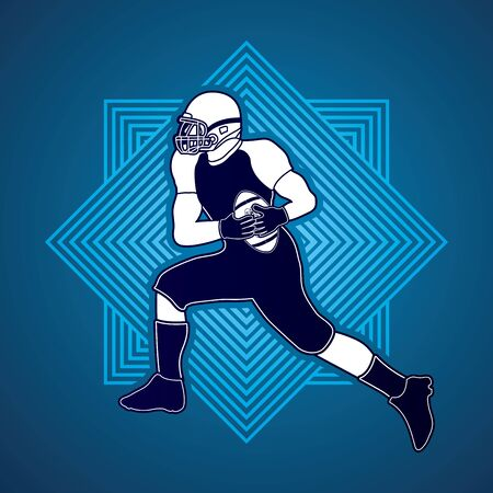 masculinity: American football running designed on line square background graphic vector Illustration