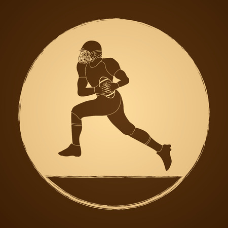 masculinity: American football running graphic vector Illustration