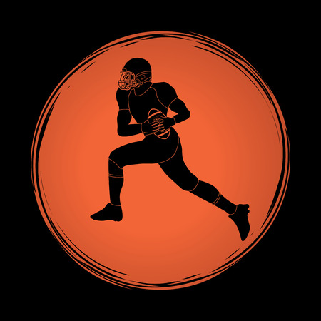 masculinity: American football running designed on grunge circle background graphic vector