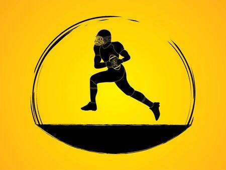 American football running graphic vector Illustration