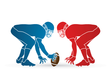 crouches: American Football prepare to battle graphic vector