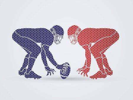 ready logos: American Football prepare to battle designed using hexagon pattern graphic vector