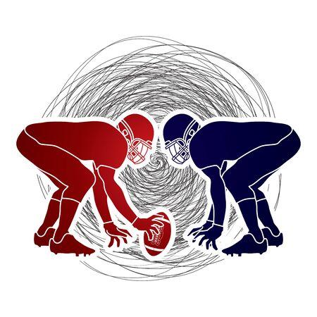 prepare: American Football prepare to battle designed on confuse line background graphic vector Illustration