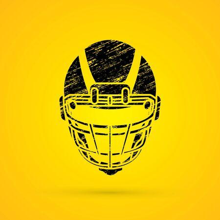 screen printing: American football Helmet designed using grunge brush graphic vector. Illustration