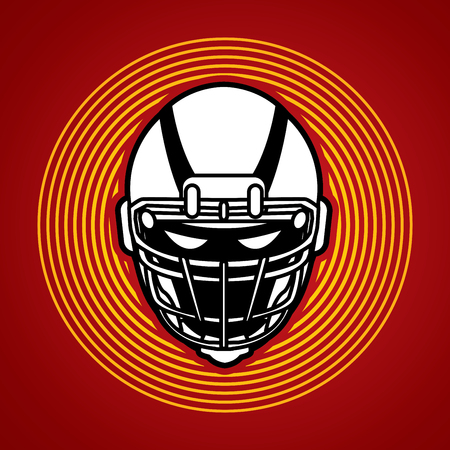 crouches: American football Helmet designed on circle light background graphic vector. Illustration