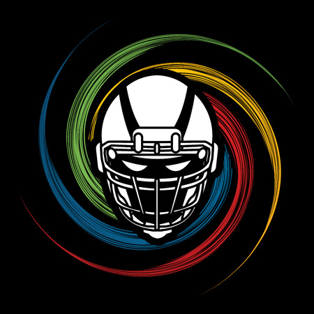 spin: American football Helmet designed on spin wheel background graphic vector.