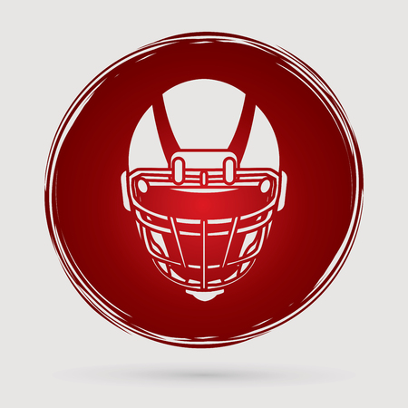 crouches: American football Helmet designed on grunge circle background graphic vector.