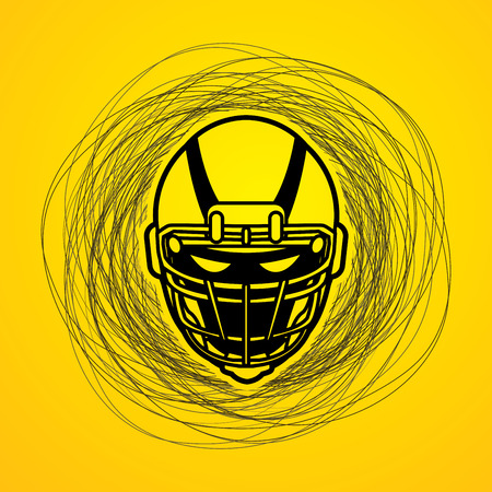 crouches: American football Helmet designed on confuse line background graphic vector.