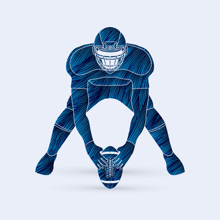 masculinity: American football player front view designed using blue grunge brush graphic vector Illustration