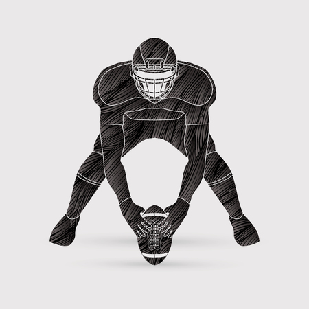 crouches: American football player front view designed using black grunge brush graphic vector