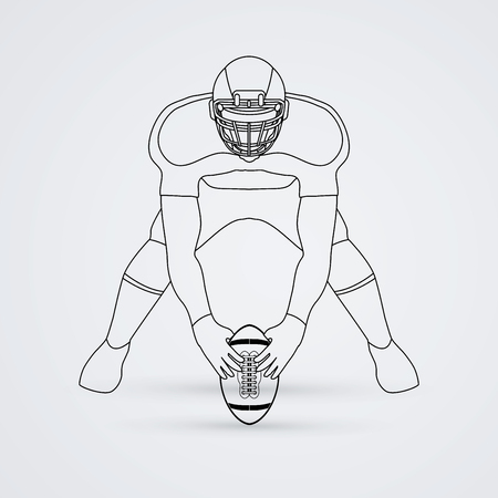 crouches: American football player front view outline graphic vector
