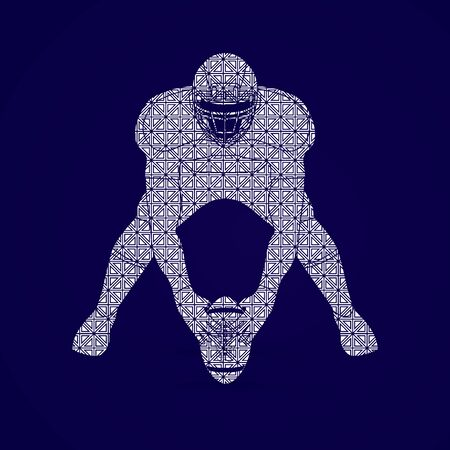 front view: American football player front view designed using geometric pattern graphic vector
