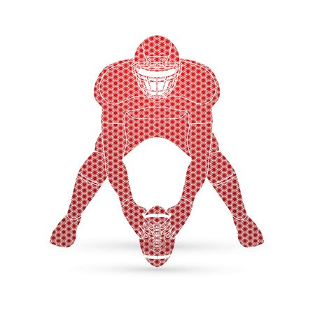 front view: American football player front view designed using hexagon pattern graphic vector