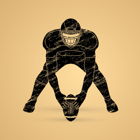 crouches: American football player front view designed using grunge brush graphic vector