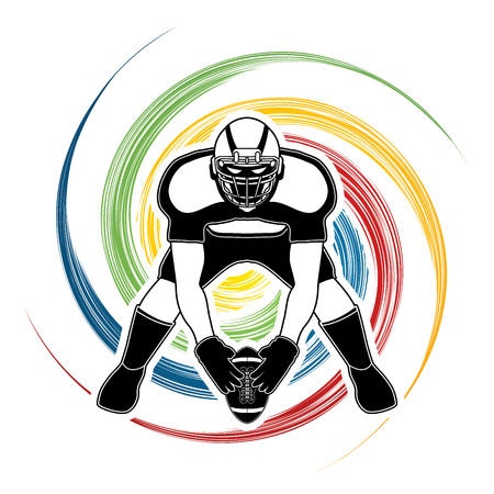 front view: American football player front view designed on spin wheel background graphic vector