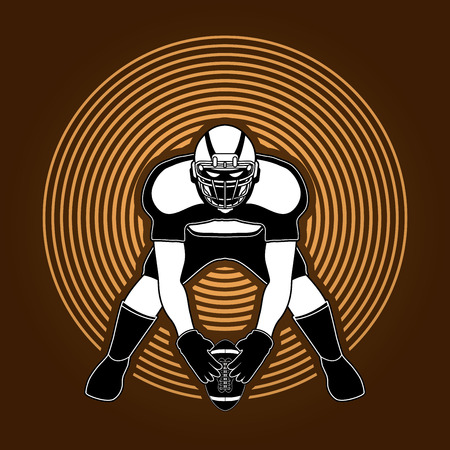 ready logos: American football player front view designed on circle light background graphic vector