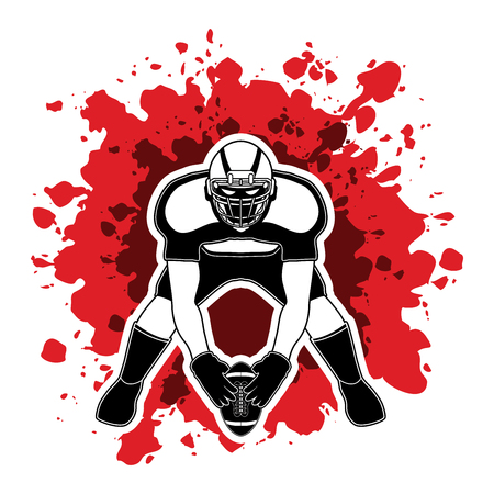 ready logos: American football player front view designed on splash blood background graphic vector Illustration