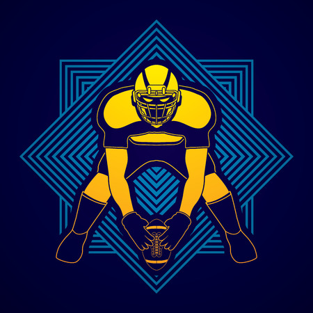 masculinity: American football player front view designed on line square background graphic vector