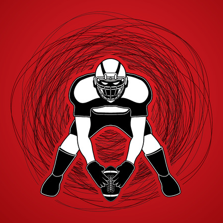 crouches: American football player front view designed on confuse line background graphic vector