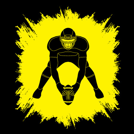 masculinity: American football player front view designed on grunge frame background graphic vector