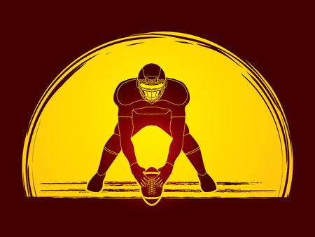crouches: American football player front view designed on moonlight background graphic vector