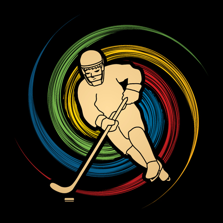 spin: Hockey player pose designed on spin wheel background graphic vector Illustration