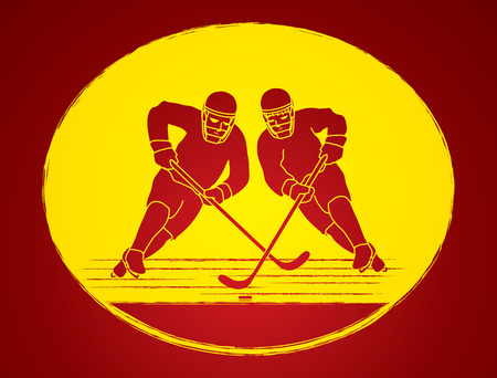 screen printing: Hockey player action graphic vector