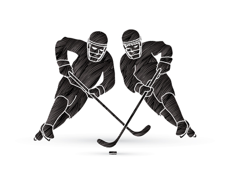 smart goals: Hockey player action designed using grunge brush graphic vector