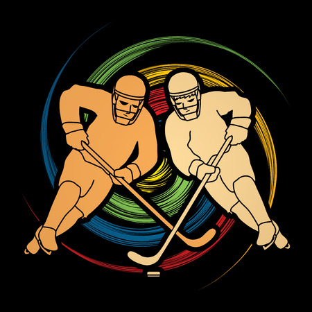 spin: Hockey player action designed on spin wheel background graphic vector Illustration