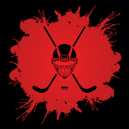 hockey goalie: Hockey helmet designed on grunge blood background graphic vector.