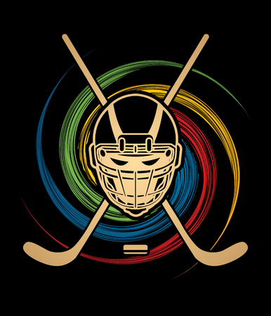 spin: Hockey helmet designed on spin wheel background graphic vector.