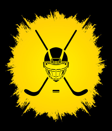 grunge frame: Hockey helmet designed on grunge frame background graphic vector.