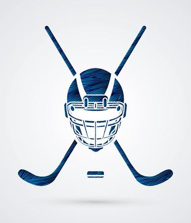 Hockey helmet designed using blue grunge brush graphic vector. Illustration