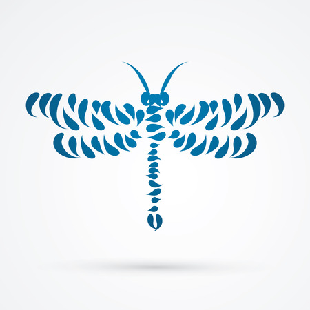 abstract animal: Dragonfly designed using brush graphic vector