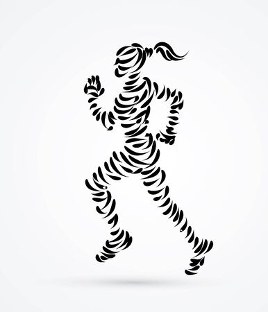 athleticism: Running woman designed using brush graphic vector.