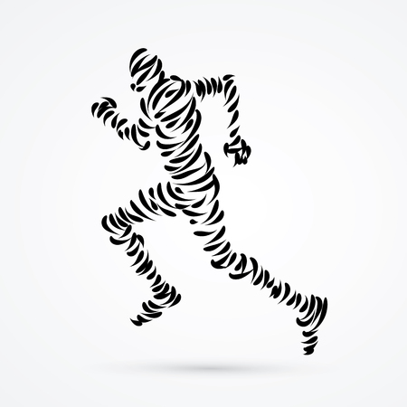 Running man designed using brush graphic vector.