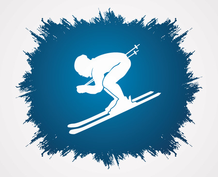 grunge frame: Skier designed on grunge frame background graphic vector.