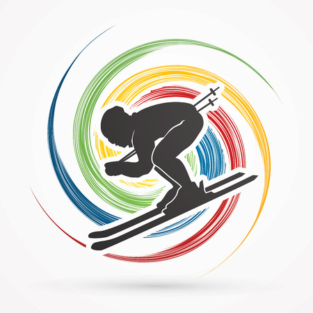 spin: Skier designed on spin wheel background graphic vector.