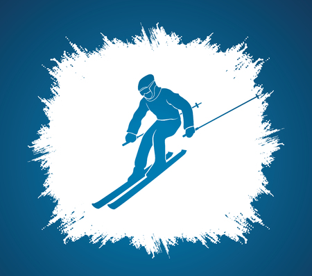 Skier Action Designed On Grunge Frame Background Graphic Vector ...