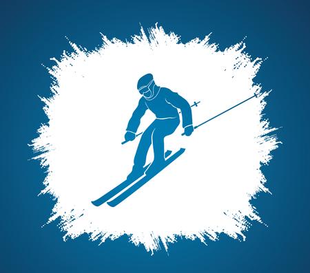 grunge frame: Skier action designed on grunge frame background graphic vector.
