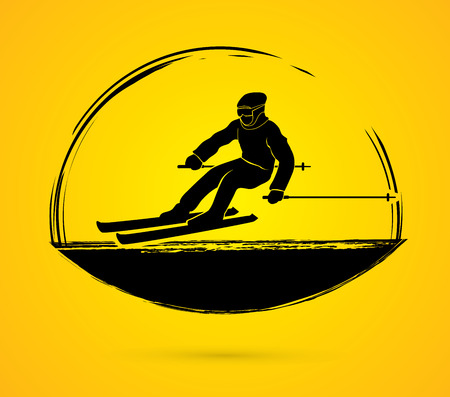 skier: Skier action graphic vector.