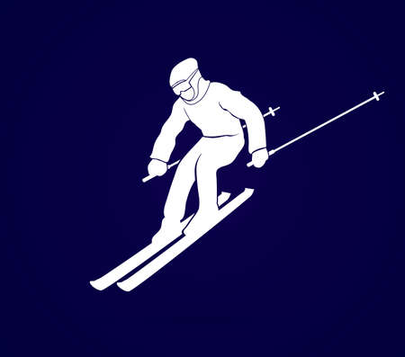 t ski: Skier action graphic vector.