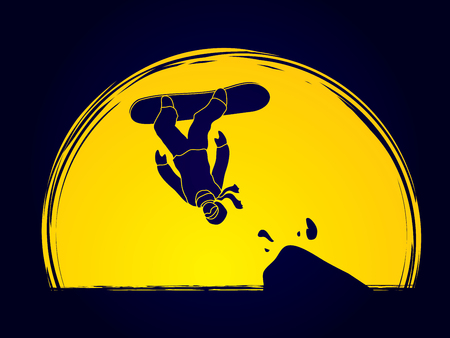somersault: Snowboarder jumping designed on moonlight background graphic vector.