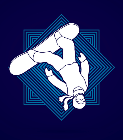 somersault: Snowboarder jumping designed on line square graphic vector.