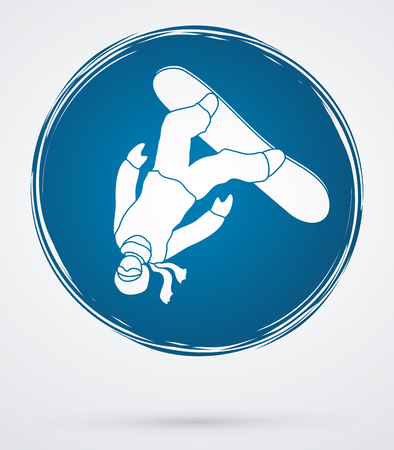 somersault: Snowboarder jumping designed on grunge circle background graphic vector. Illustration